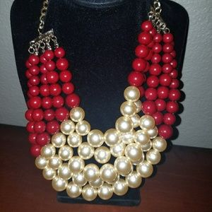 Burgundy and faux pearl necklace with earrings
